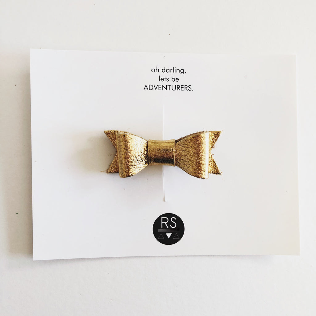 24k Gold Leather Bow