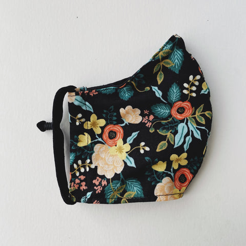 Birch Black Floral Facemask