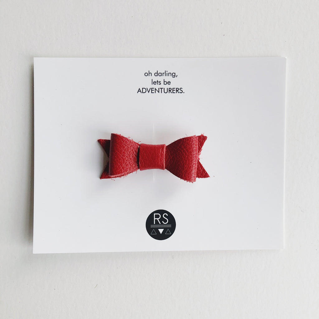 True Red Leather Bow