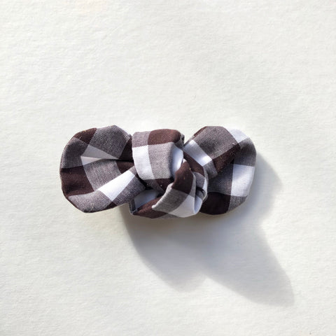 Chocolate Gingham Knot Bow
