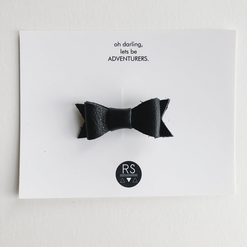 Noir Leather Bow