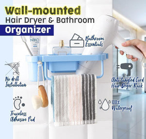 Wall-mounted Hair Dryer & Bathroom Organizer