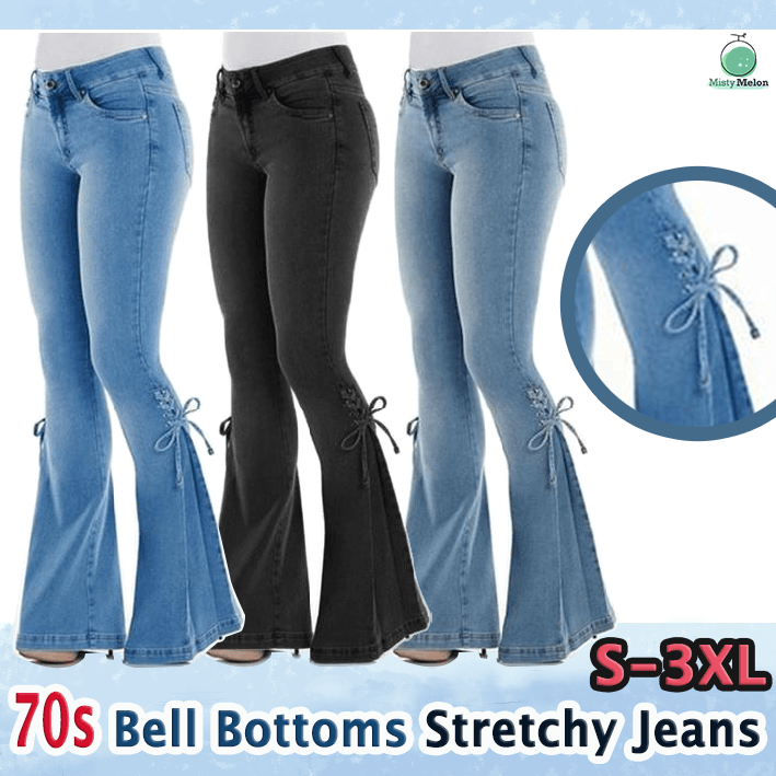 Women 70s Bell-Bottom Stretchy Jeans