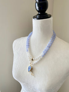 Blue Lace Agate & Moonstone Mala Necklace