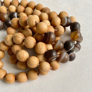 Aroma Coffee Agate Mala Necklace