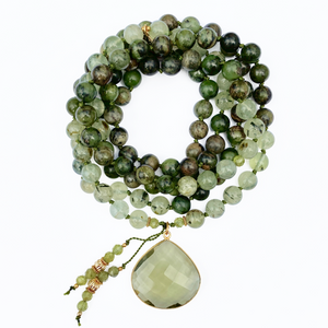Rainforest Jasper & Prehnite Mala Necklace
