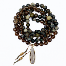 Load image into Gallery viewer, Silver Leaf Jasper Mala Necklace