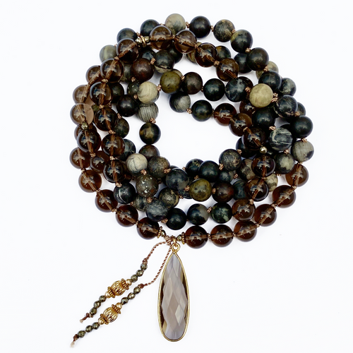 Silver Leaf Jasper Mala Necklace