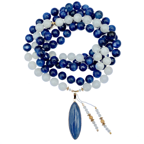Kyanite & Moonstone Mala Necklace