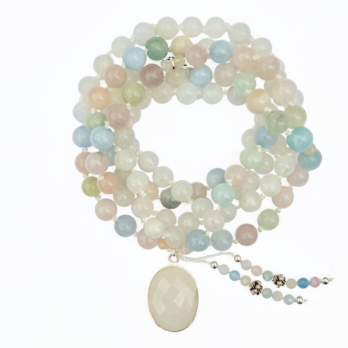 Morganite & Moonstone Mala Necklace