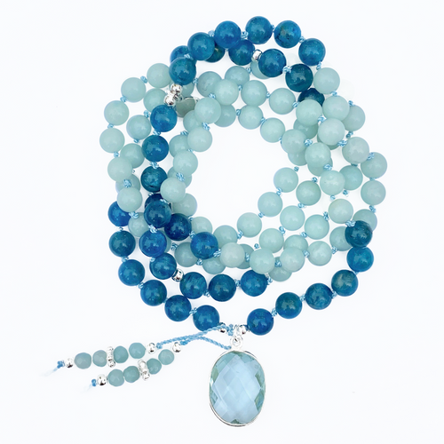 Amazonite & Apatite Mala Necklace
