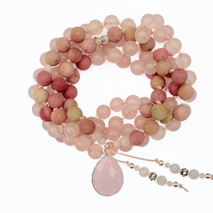 Rose Quartz & Rhodonite Mala Necklace