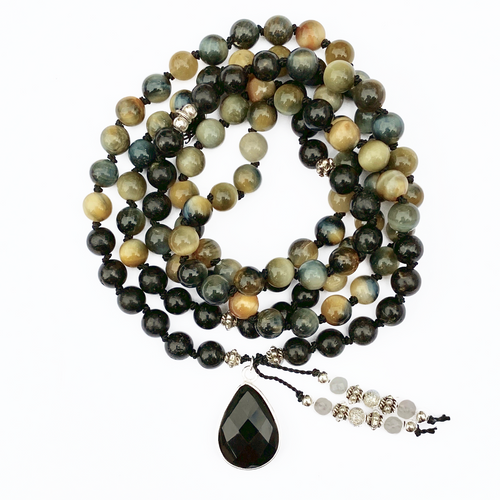 Fancy Tiger Eye & Astrophyllite Mala Necklace