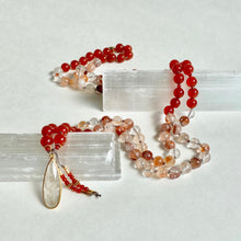 Load image into Gallery viewer, Fire Agate & Carnelian Mala Neclace