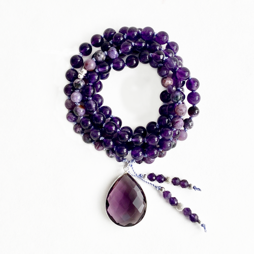 Amethyst & Charoite Mala Necklace