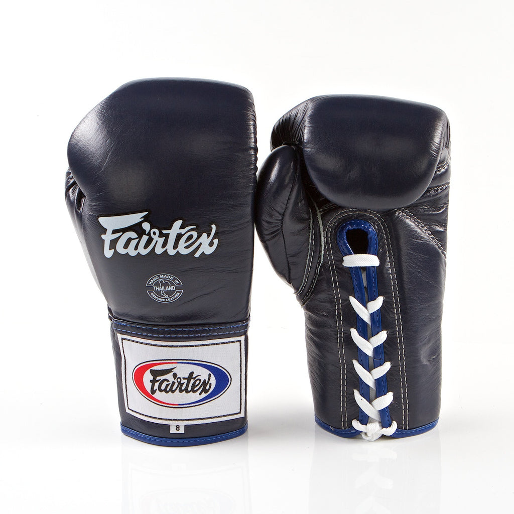 Pro Competition Lace Up Muay Thai Gloves - Blue