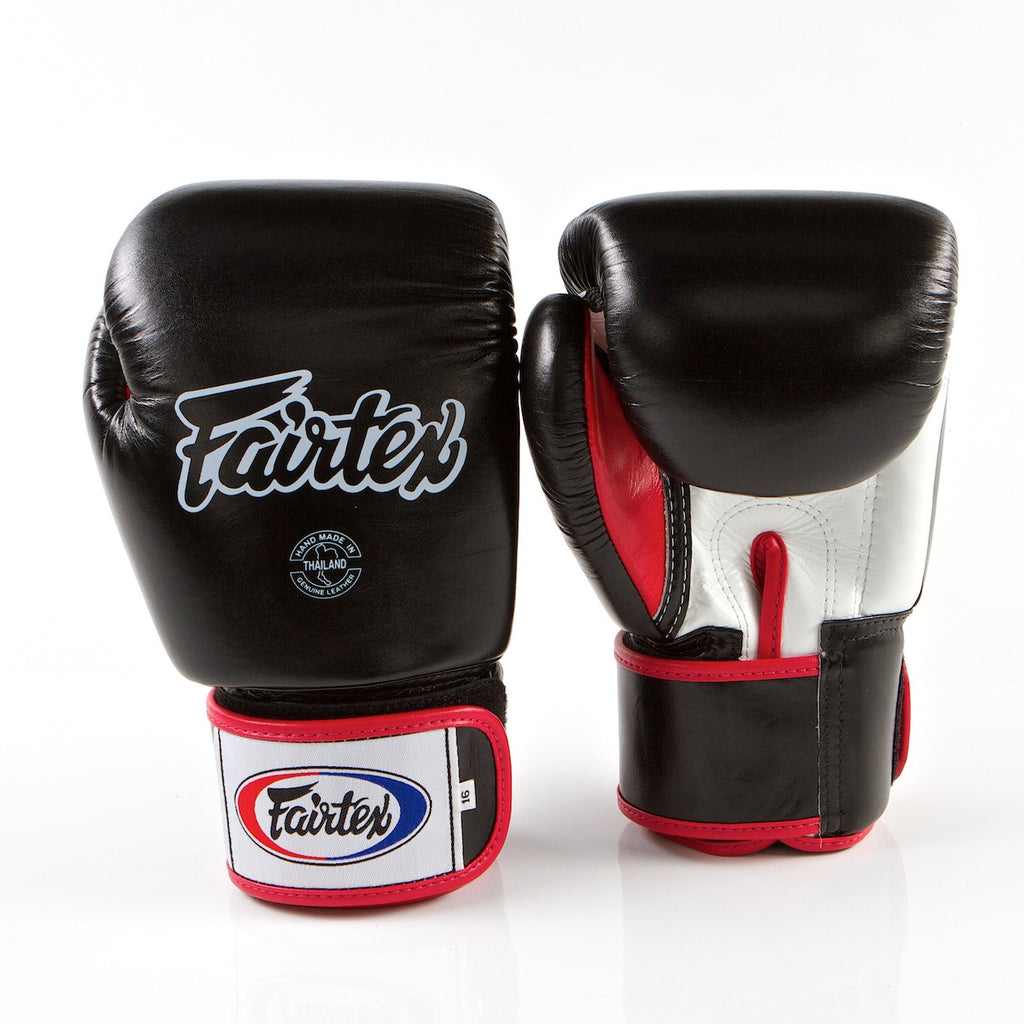 Tight Fit Universal Muay Thai/Boxing Gloves - Black/White/Red