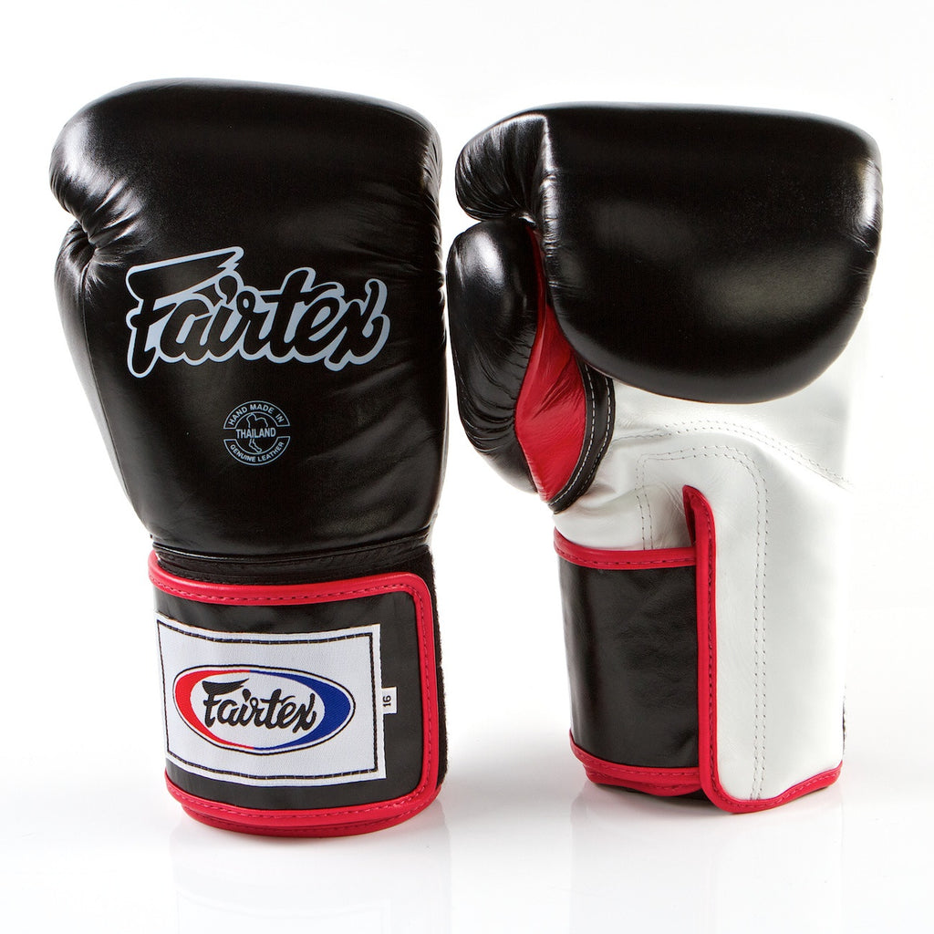 Pro Sparring Boxing Gloves - Black/White/Red