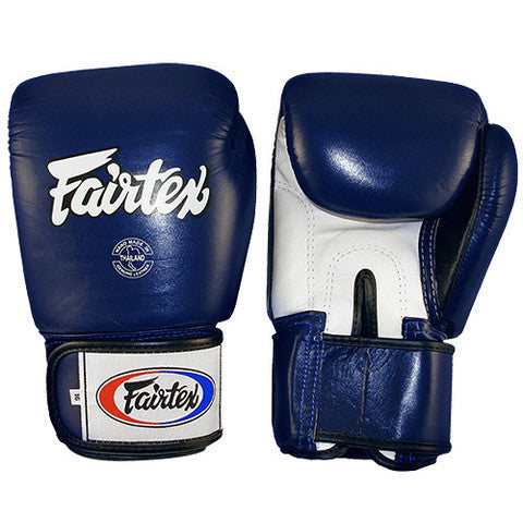 Tight Fit Universal Muay Thai/Boxing Gloves - Blue/White/Black