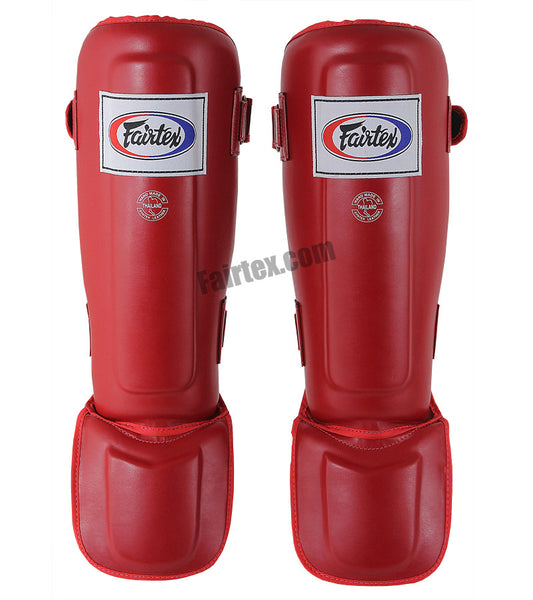 Fairtex Pro Style In-Step Double Padded Muay Thai Red Shin Guards
