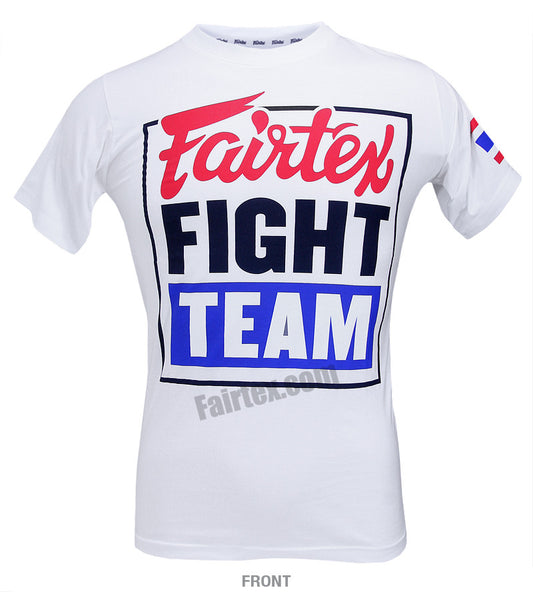 Fairtex Fight Team White T Shirt Blue Body
