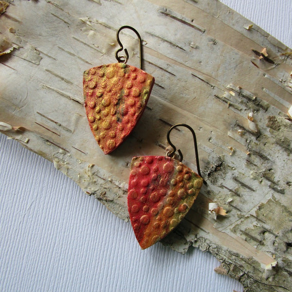 Triangle Fiery Water Droplets Textured Drop Earrings