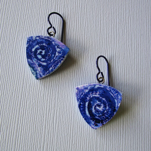 Triangle Indigo Batik Drop Earrings