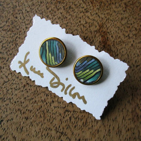 Green Stripe Abstract Medium Post Earrings
