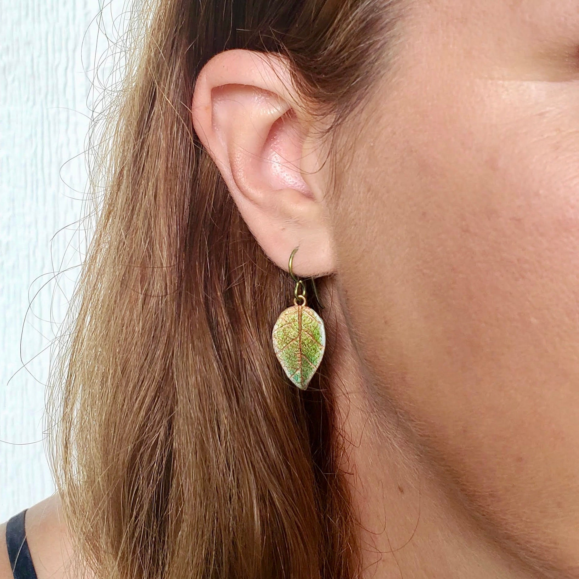 Smallest Textured Leaf Drop Earrings
