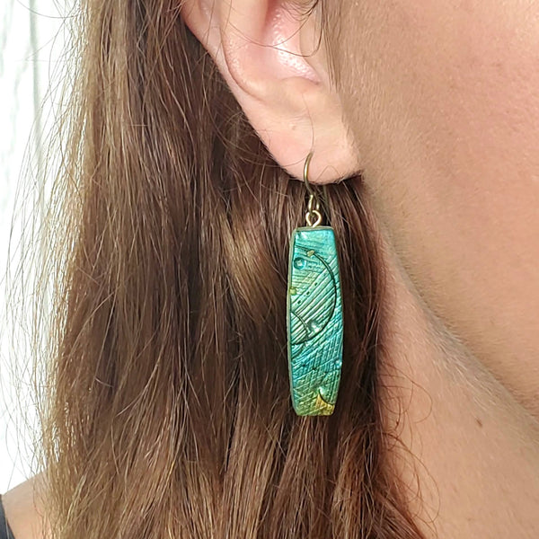 Textured Stick Drop Earrings