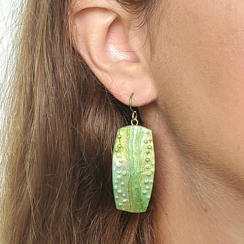 Green Textured Drop Earrings