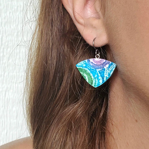 Triangle Batik Drop Earrings
