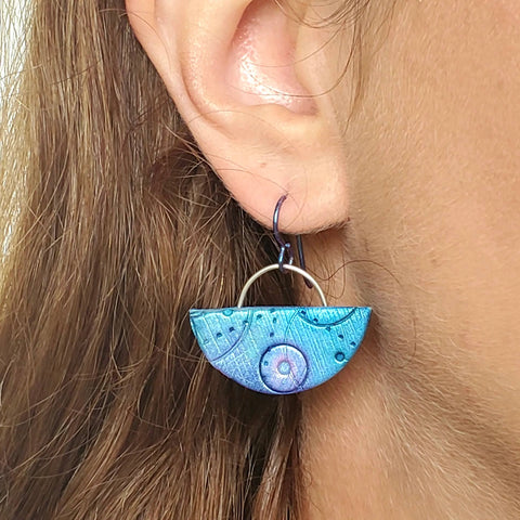 Textured Half Moon Drop Earrings