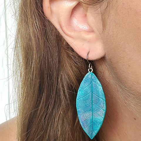 Larger Textured Leaf Drop Earrings