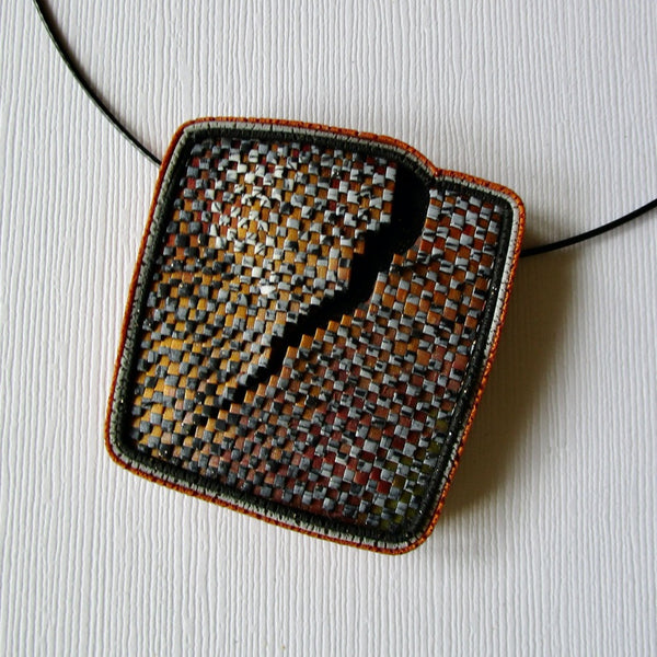 Rust/Gray Textured Brooch/Pendant