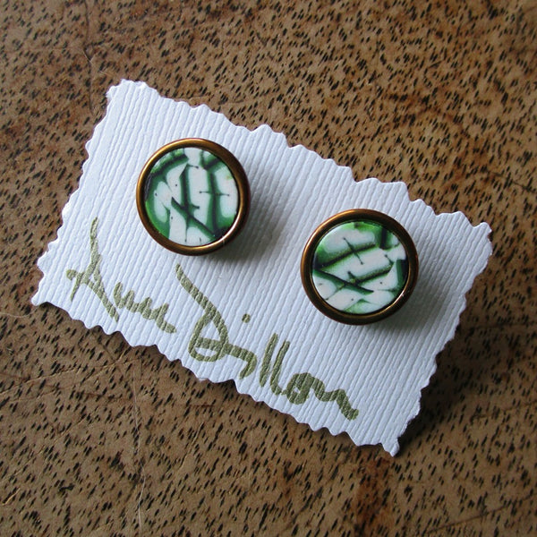 Green Abstract Medium Post Earrings