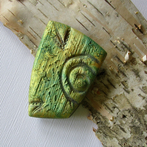 Green/Gold Textured Brooch/Pendant