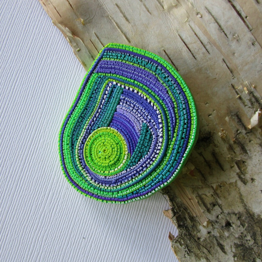 Chartreuse/Purple Textured Brooch/Pendant