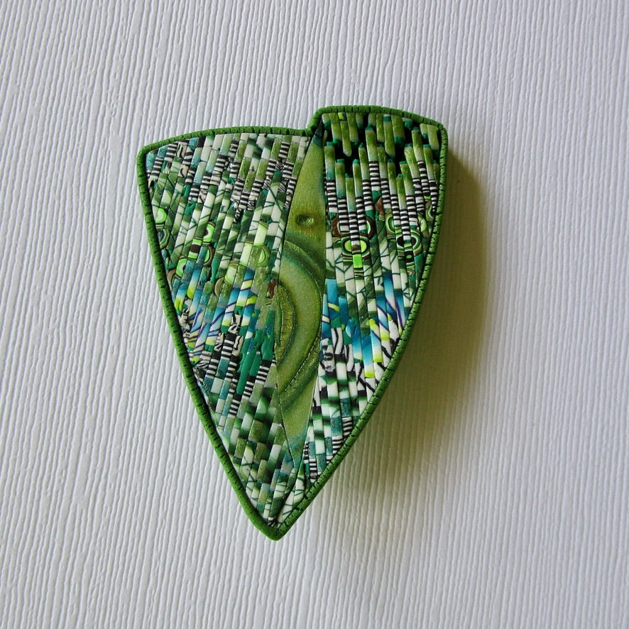 Green Bargello Textured Brooch/Pendant
