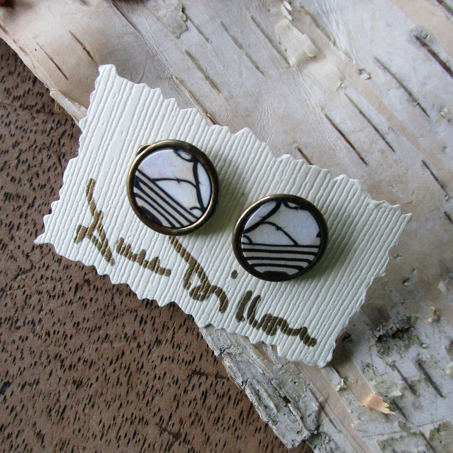 Black Stripes/Abstract Medium Post Earrings