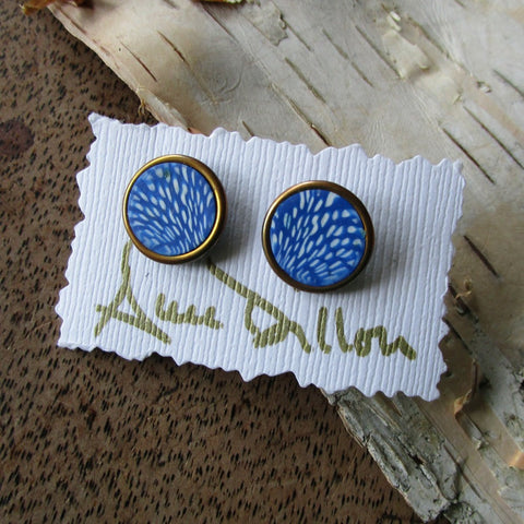 Blue Tiny Dots Abstract Medium Post Earrings
