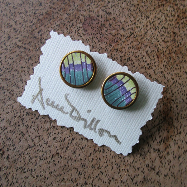 Green Purple Stripe Abstract Medium Post Earrings