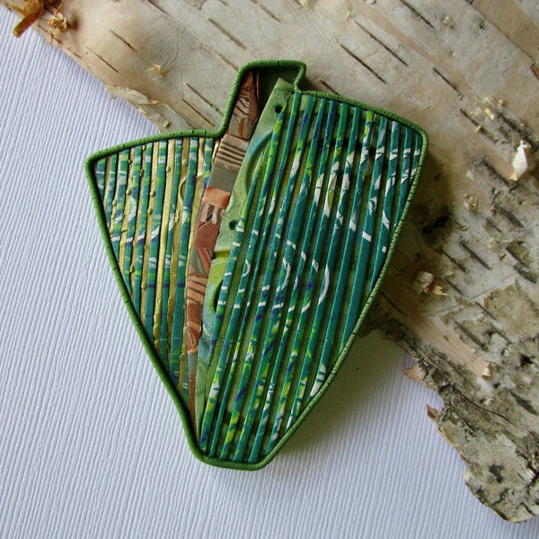 Green Stripe Textured Statement Brooch/Pendant