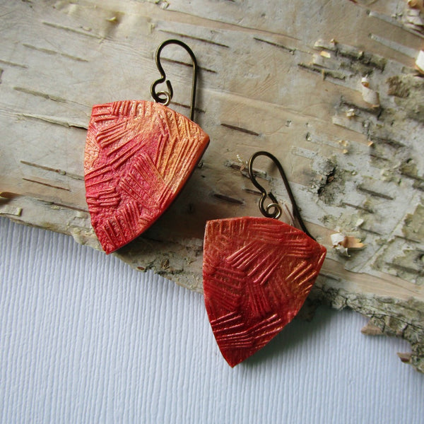 Triangle Fiery Textured Drop Earrings