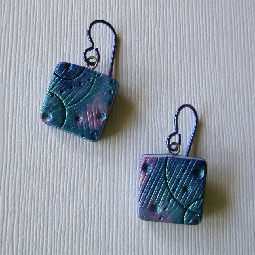 Blue Textured Square Drop Earrings