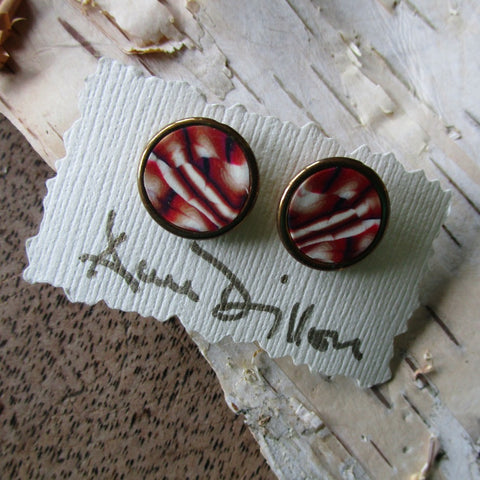Rust/Black/White Stripe/Abstract Medium Post Earrings