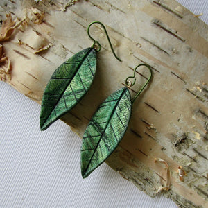 Medium Textured Leaf Drop Earrings