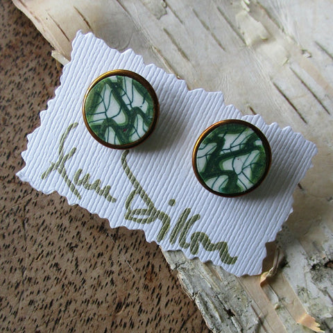 Green Leaf Abstract Medium Post Earrings