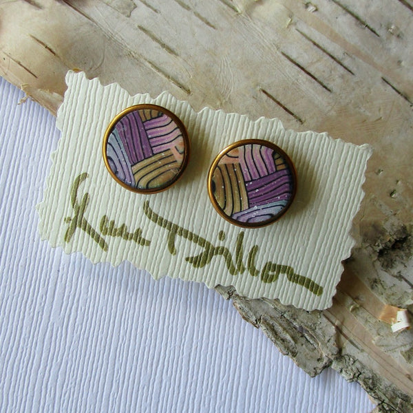 Multi-color Basket Weave Medium Post Earrings