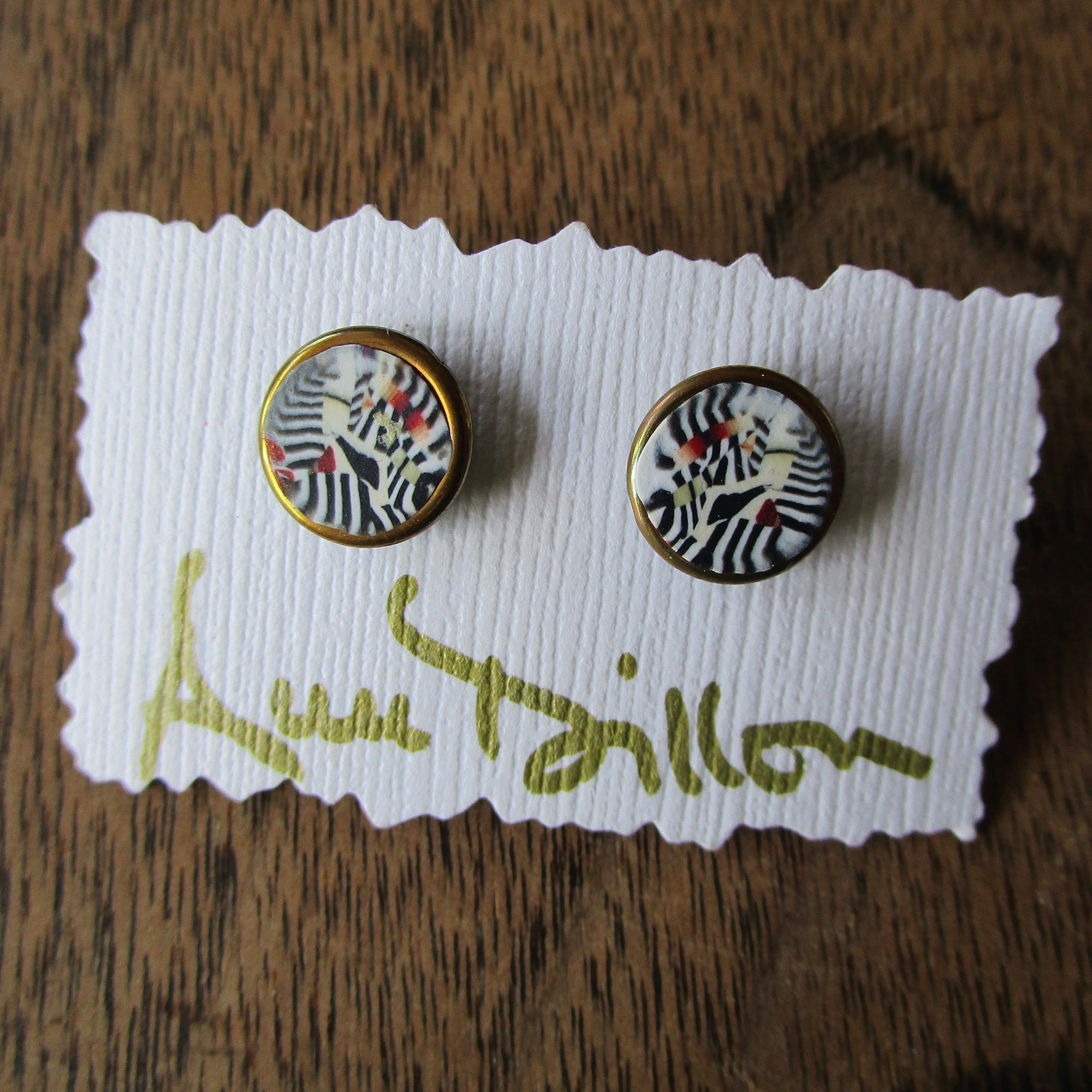Black/White/Red Small Post Earrings